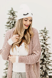 a little dash of darling,blogger,cardigan,top,socks,hat,make-up,beanie,winter outfits