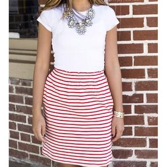 skirt red white stripes striped skirt red and white stripes high waisted amazinglace amazinglace.com high waisted skirt