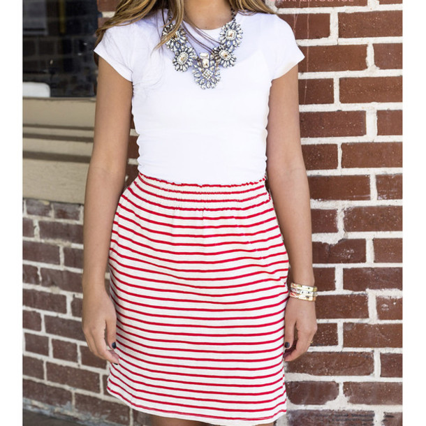 Red And White Striped Skirt 89