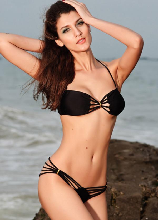 swimwear strappy bikini bandeau bikini black bikini bikini swimwear underwear clothes fashion sexy bikini