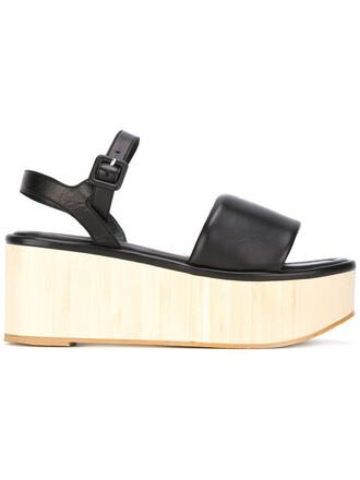 wood women sandals black shoes