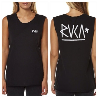 shirt tank muscle tank black women's wassup rocker surf summer rvca tank top