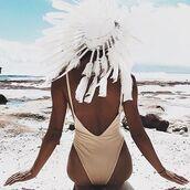 swimwear,cream,white,sexy,tan,hot,open back,one piece swimsuit,beach,summer,free vibrationz