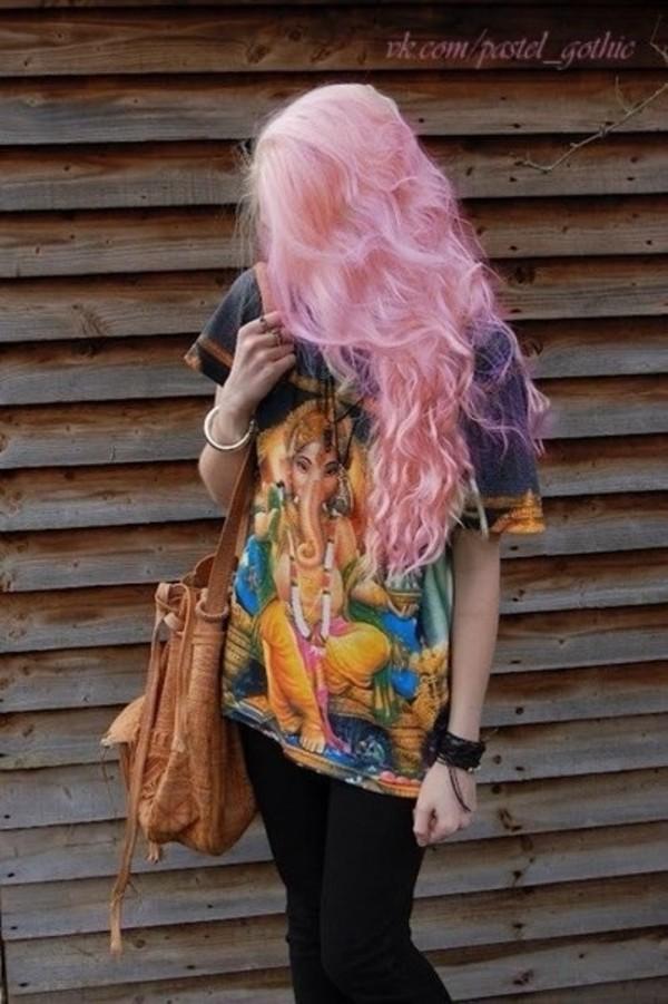 shirt boho shirt spiritual elephant indian print hippie pink hair peace silk material