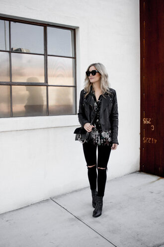 blondecollective blogger top jacket pants shoes bag sunglasses black leather jacket crossbody bag ankle boots