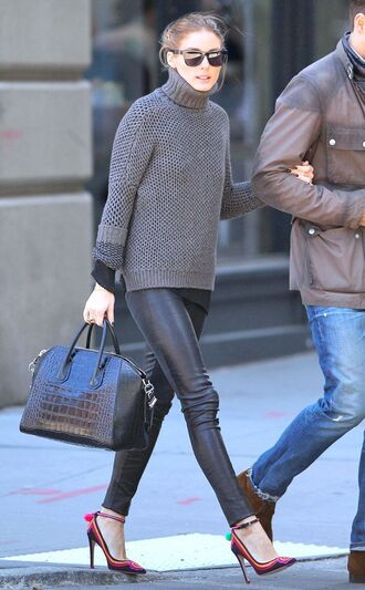 sweater shoes streetstyle leather pants fall outfits winter sweater turtleneck olivia palermo leather leggings faux leather