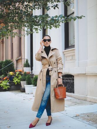 coat sunglasses tumblr trench coat camel camel coat bag handbag jeans denim blue jeans shoes