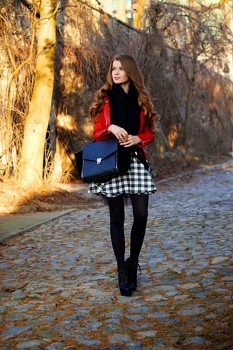 only my fashion style blogger skirt red satchel bag gingham scarf bag