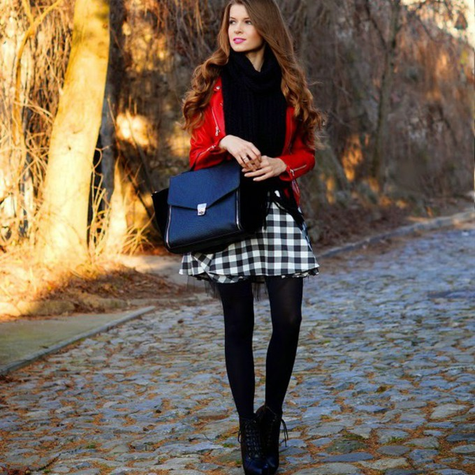 red scarf bag skirt blogger satchel bag only my fashion style gingham scarf red