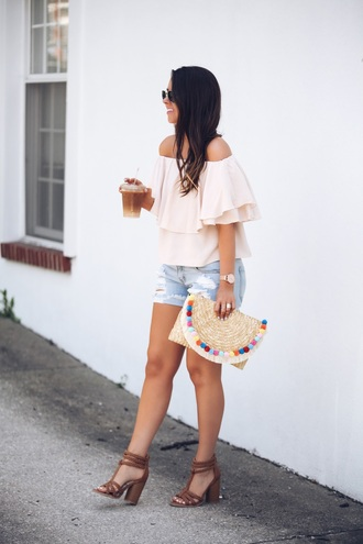 fashionably kay blogger top bag shorts jewels off the shoulder top clutch sandals denim shorts summer outfits