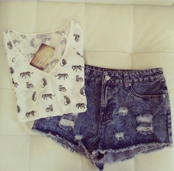 fashion girly shorts denim shorts ripped shorts dark blue
