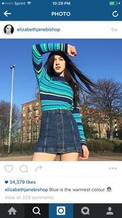 sweater,blue,blue sweater,denim skirt,blue green yellow,blue green sweater,striped sweater
