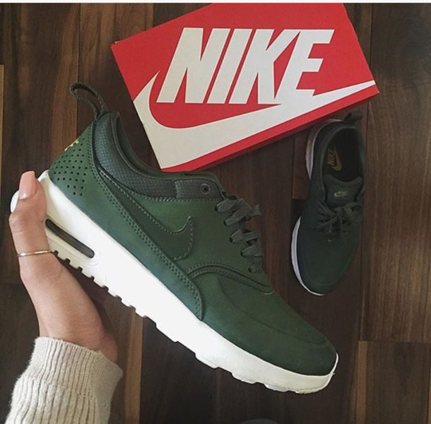 shoes nike green nike shoes leger cool girl style nike air max thea khaki  kaki sneakers