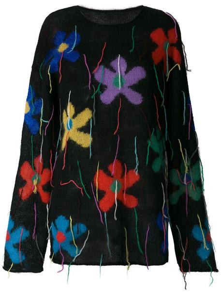 Ports 1961 - oversized floral sweater - women - Silk/Mohair/Wool - M, Black, Silk/Mohair/Wool