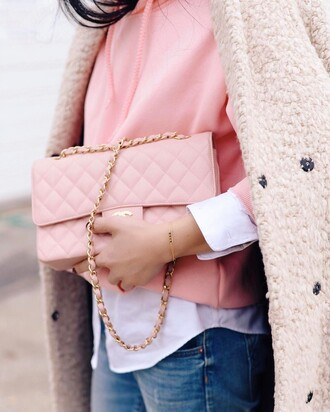 bag tumblr pink bag chain bag chanel chanel bag shirt white shirt sweater pink sweater sweatshirt denim jeans blue jeans coat pink coat bracelets jewels jewelry gold jewelry gold bracelet