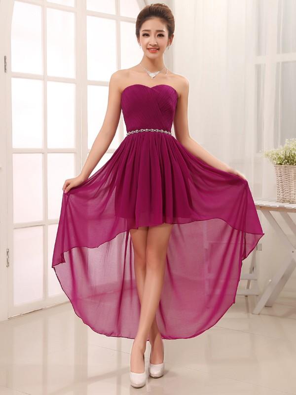 4867159488682 A-line Princess Sweetheart Sleeveless Beading Asymmetrical Chiffon ...