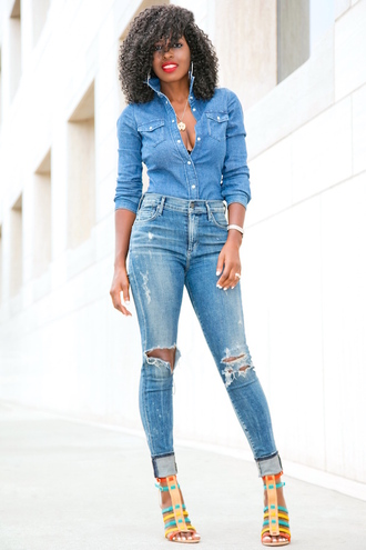 blogger shirt jeans shoes denim jacket high waisted jeans ripped jeans strappy heels strappy sandals cropped jeans black girls killin it black girls slayin