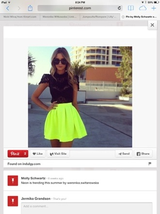 skirt neon yellow skirt bright colored