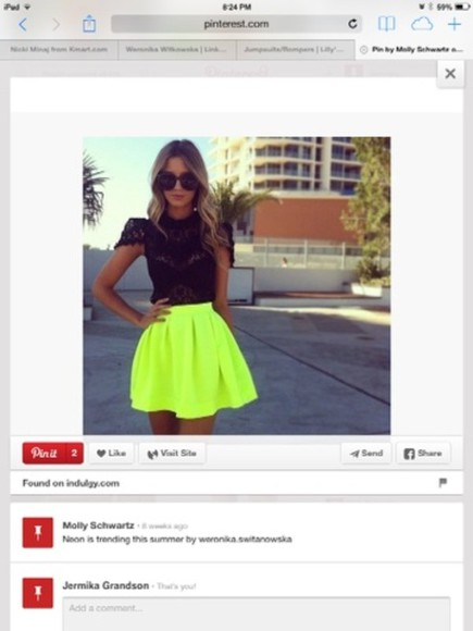 neon yellow skirt skirt bright colored