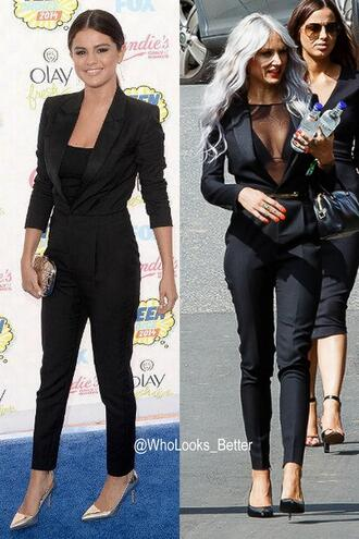 jumpsuit yves saint laurent saint laurent lou teasdale bag nail polish belt jacket make-up earphones tailoring selena gomez black jeans black jumpsuit one piece