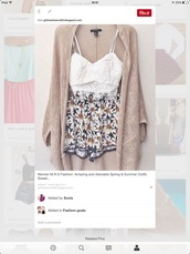shorts,floral shorts with crop tops,floral,black yellow and white,cardigan,top