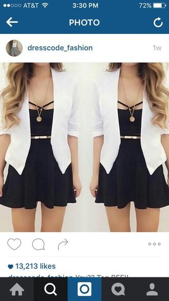dress short black dress not tight jacket blazer white