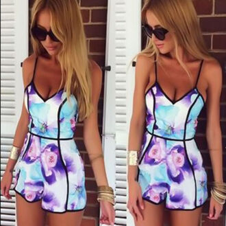 romper jumpsuit floral floral jumpsuit summer purple flowers baby blue floral romper swimwear