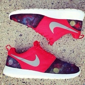 shoes,nikes,nike roshe run,galaxy print,nike running shoes