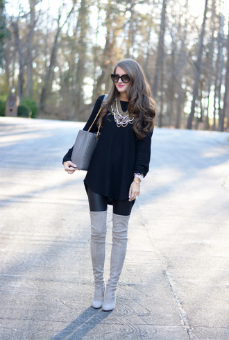 southern curls and pearls blogger suede boots thigh high boots leather leggings black sweater