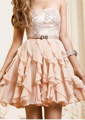 A-line Chiffon Ruffles Sweetheart Short Prom Dress