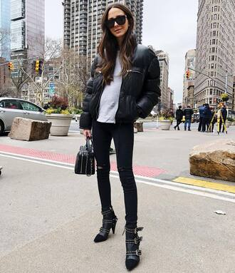 jacket tumblr black jacket puffer jacket down jacket top grey top denim jeans black jeans skinny jeans boots black boots sunglasses