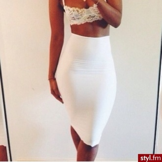 skirt long pencil skirt white white skirt tight white pencil skirt shirt