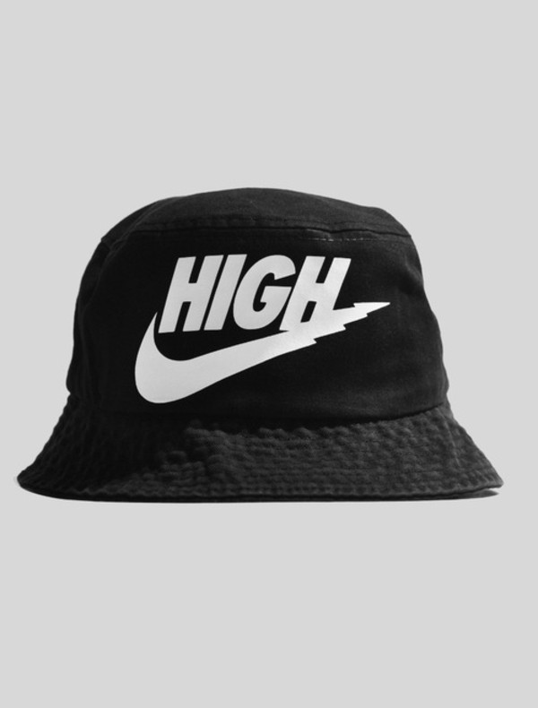 hat unisex bucket hat black white nike high