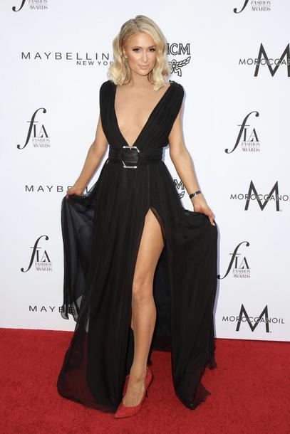 dress black dress maxi dress paris hilton slit dress pumps red carpet dress plunge dress shoes