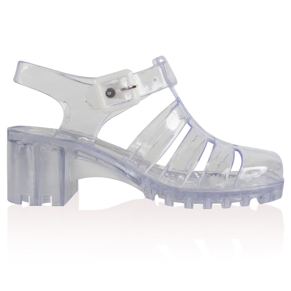 Womens Clear Ladies Summer Low heeled Beach Retro Jelly Shoes Sandals