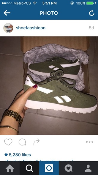 shoes olive green reebok