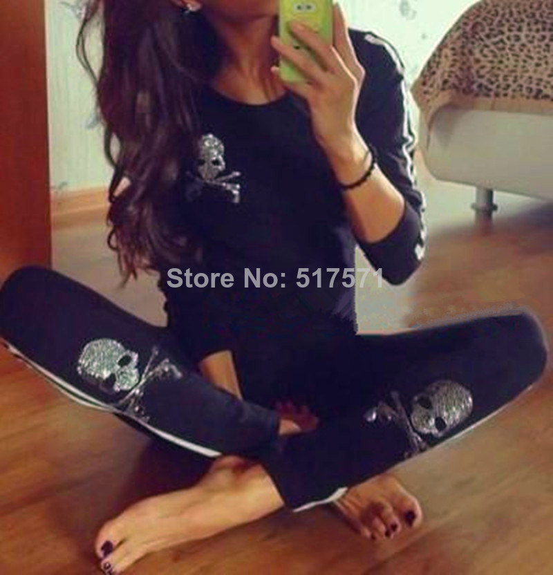 Aliexpress.com : Buy Women  Rhinestone Diamond Skull Sweatshirt Sport Suits Long Sleeve Sweater Hoodie & pants  Set  tracksuits  Spring Summer  from Reliable sweatshirt men suppliers on RUIYI Co.,Ltd.
