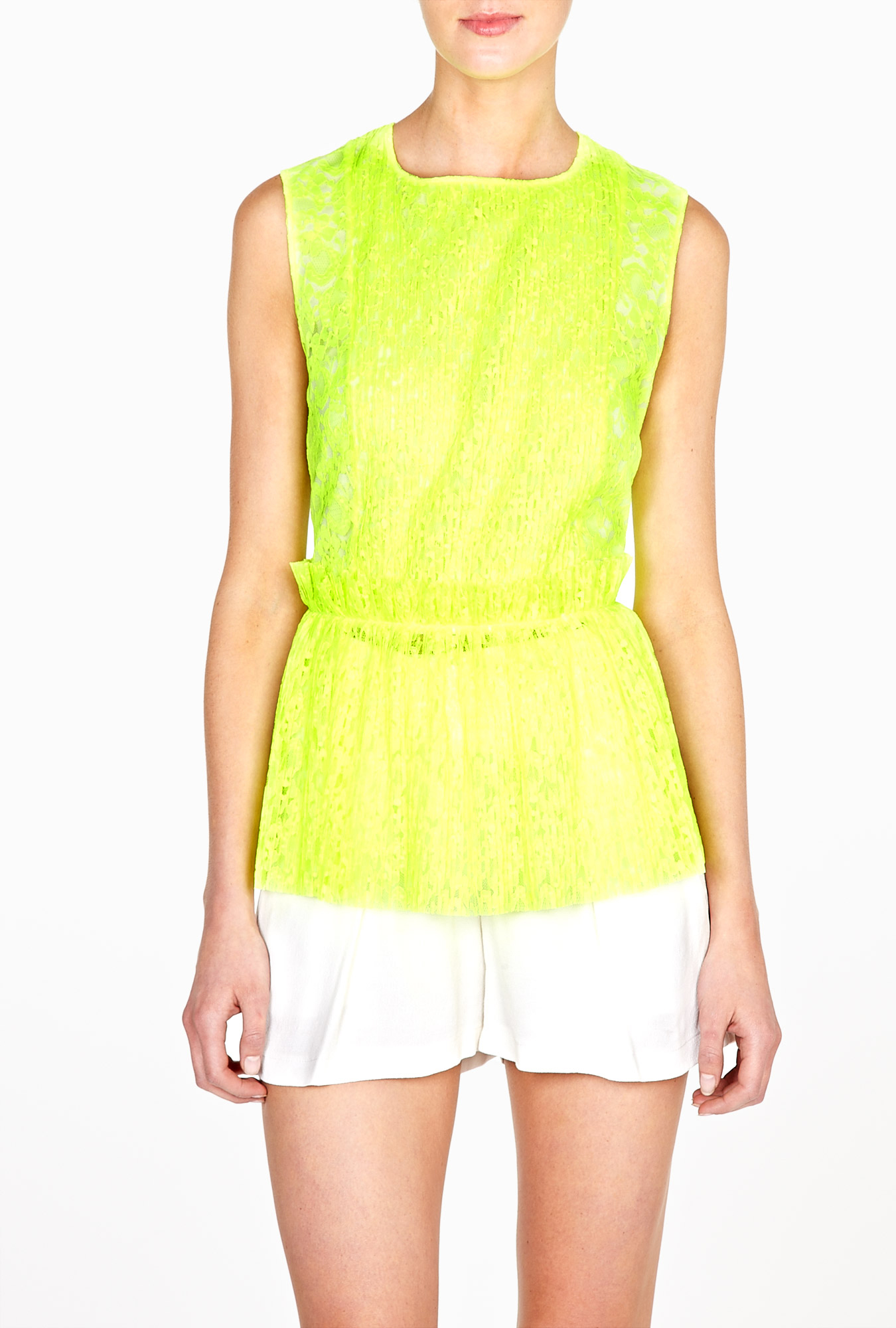 Fluoro yellow lace sleeveless peplum top by msgm