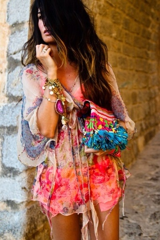 dress colorfull sexy jewels beach style blouse colorful patterns top hippie summer summer outfits shirt see through