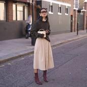 bag,mini bag,handbag,sweater,knitted sweater,oversized sweater,midi skirt,button up,sock boots,sunglasses,earrings