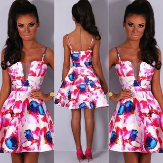 dress pink boutique skater dress floral