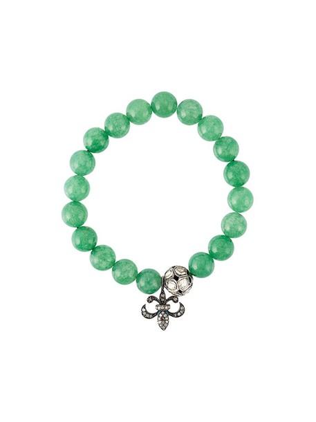Gemco women moon charm bracelet silver green jewels