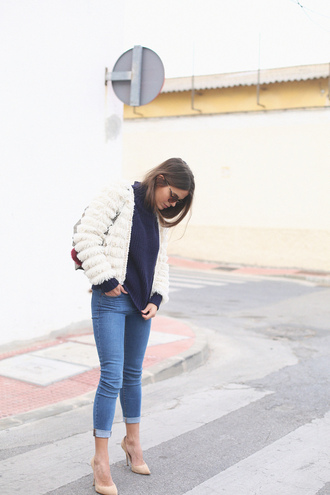 seams for a desire blogger jeans faux fur jacket fall jacket fall outfits nude heels white fur jacket furry bomber jacket