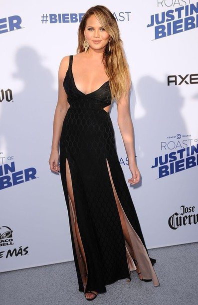 dress black chrissy teigen black dress prom dress
