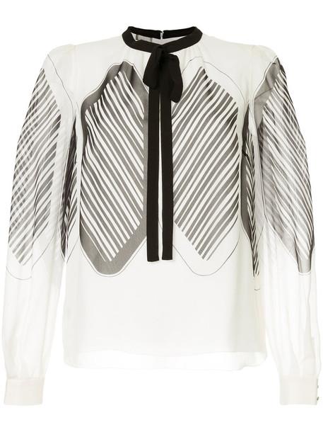 GIAMBATTISTA VALLI blouse bow women white silk top