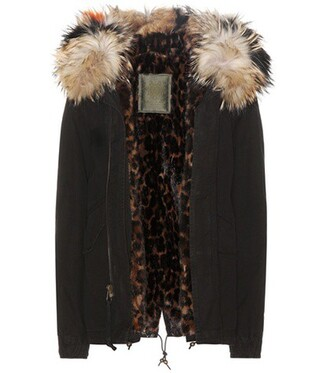 parka mini fur cotton black coat