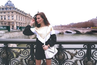marie zamboli blogger bag gold sweater dress colorblock