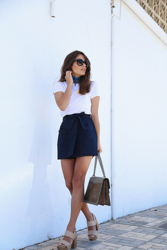 seams for a desire blogger shoes bag sunglasses jewels white top blue skirt mini skirt dionysus thick heel nude heels