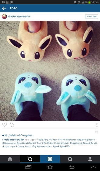 shoes pokemon eevee glaceon slippers blue brown