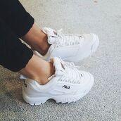 shoes,white shoes,fila sneakers,fila,white sneakers